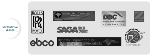 Logos of Internation Qualidoc clients: Rolls Royce, EBCO, SAGA and others